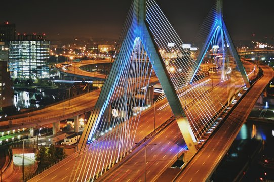 High Angle View Of Illuminated Zakim Bridge At Night