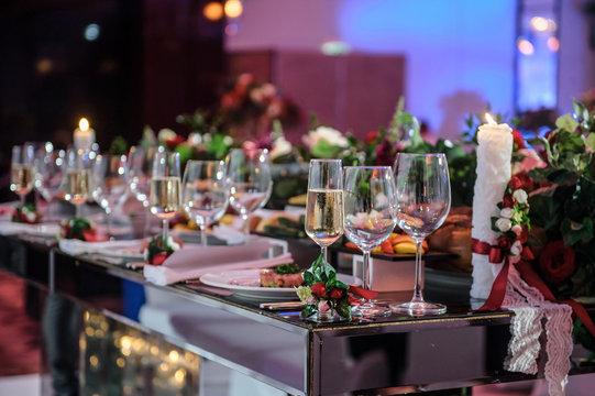 Wedding reception banquet party table