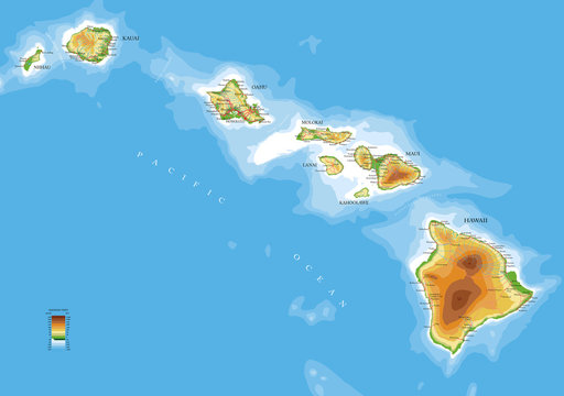 Hawaii islands physical map