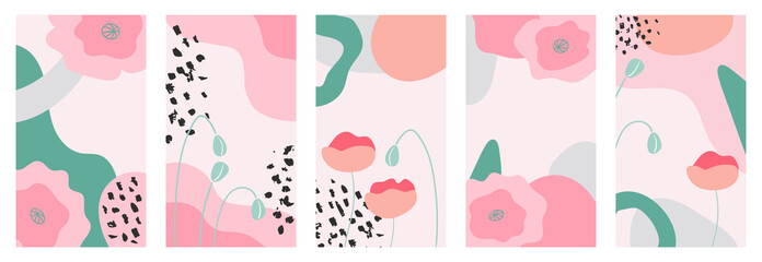 Set of abstract spring flowers backgrounds for social media, promotional content. Trendy pastel colors.