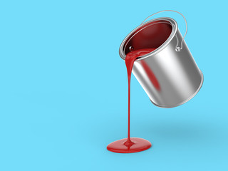 Steel Paint Bucket Pouring Red Paint