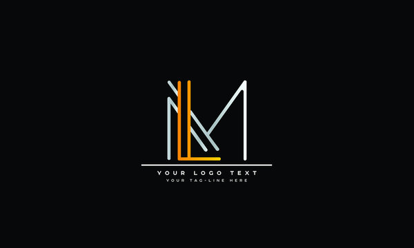 LM ,ML ,L ,M  Letter Logo Design with Creative Modern Trendy Typography