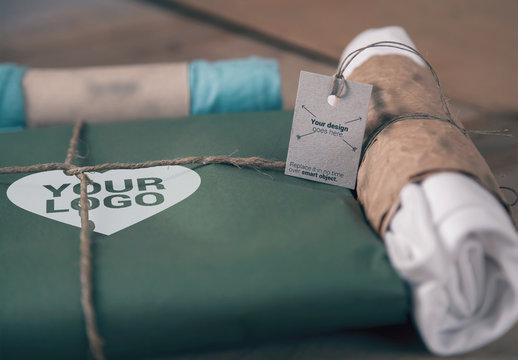 T-Shirt Paper Packaging and Jute Rope Mockup