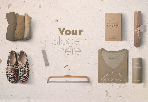 Rolled and Folded T-Shirts with Shoes and Hangers Mockup