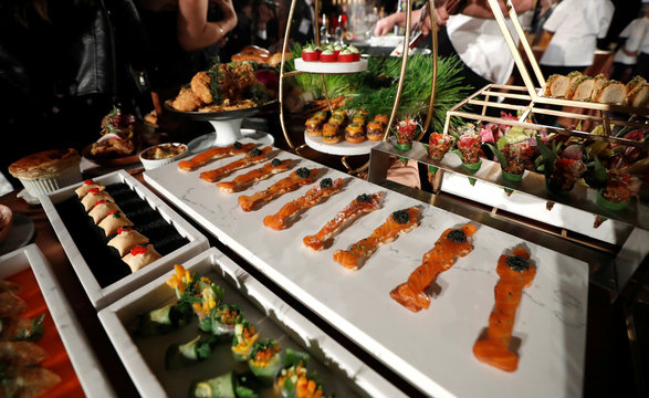 Smoked Salmon Oscars Matzah are pictured during a media preview of this year's Academy's Governors Ball in Los Angeles