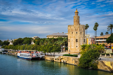 Golden Tower (Torre del Oro) in Seville, Andalusia, Spain