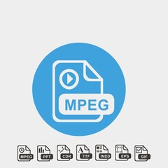 MPEG format icon vector illustration and symbol foir website and graphic design