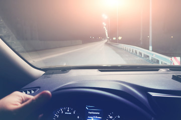 Photo sur Plexiglas Autoroute nuit Driving on the car on the night highway