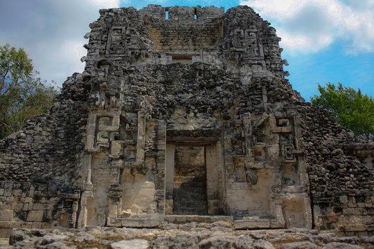 Chicanna, Campeche, Calakmul / Yucatan Peninsula ,Mexico - Abril 16 2011 Rio Bec architecture style of mayan ruins