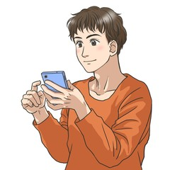 A young man with a smartphone in his hand