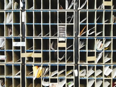 Full Frame Shot Of Mailboxes In Post Office