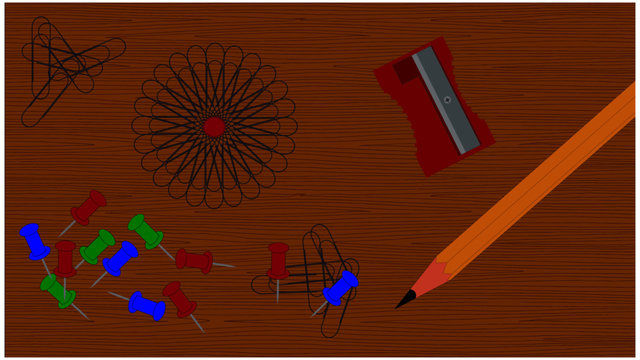 A vector image of a desk scene with paperclips fanned in a spiral pinned with a tack, a pencil and sharpener and additional paperclips.  Created on a wood surface and in layers and groups for easy iso