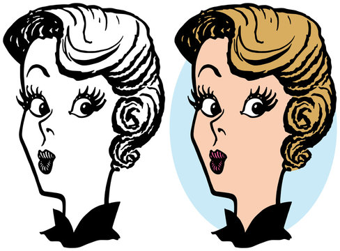 A cartoon of a woman with pursed lips and a surprised expression on her face.