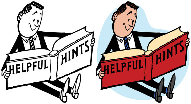 A cartoon of a businessman reading a book of helpful hints
