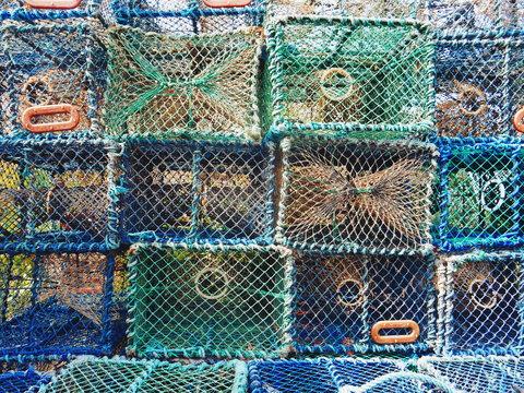 Full Frame Shot Of Lobster Traps