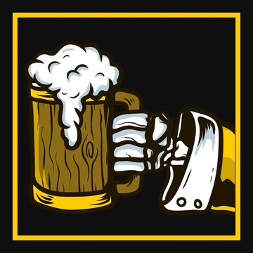 skull hand holding beer,hand drawing,isolated,easy to edit