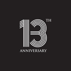 13th year celebrating anniversary emblem logo design