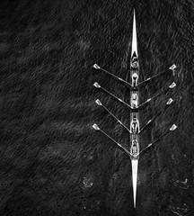 Fototapeta Directly above shot of people sailing in rowboat on sea obraz