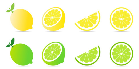 Collection set of fresh lemon and lime with green leaf and half slice pattern isolated on white background.Citrus fruit flat icon.Lemonade.Vector.Illustration.