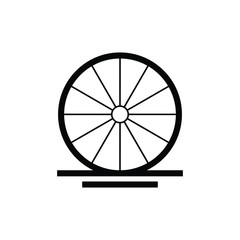 wooden cart old wheel  logo design