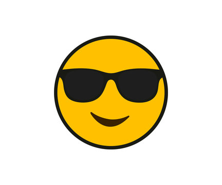 Black sunglasses and smile face in flat style on white background