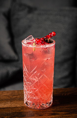 cocktail with anise and red currant