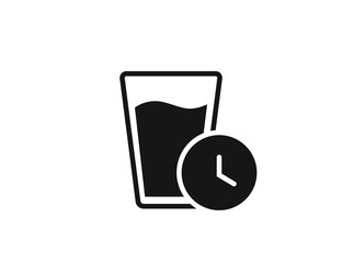 Glass of water with clock, fresh water drinks for health, web icon isolated on white background, top view