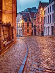 Old Streets of Bruxelles Belgium illuminated at dusk or dawn
