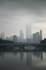 Printed roller blinds Shanghai Bridge Over River In City During Foggy Weather