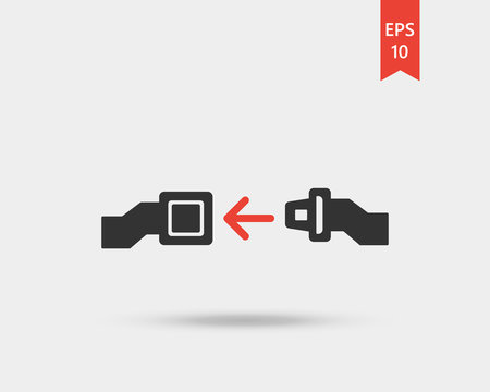 Fasten seat belt icon. Seat belt in airplane - vector web icon isolated on white background, EPS 10, top view