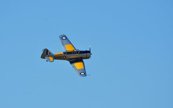 Vintage North American T-6C  Harvard 11A  Aircraft in Flight