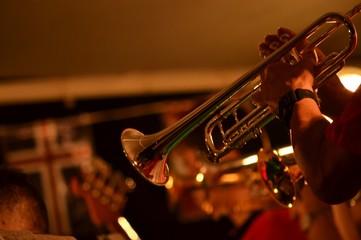 Cropped Hands Of Man Playing Saxophone Fotobehang