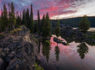 Forest Reflections at Sunset - Mountains - Oregon