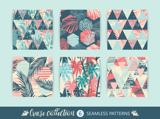 Set of tropical and sea seamless patterns with hand texture and geometric elements.