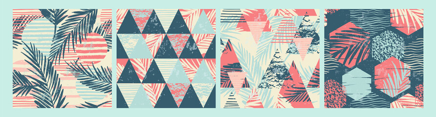 Set of tropical and sea seamless patterns with hand texture and geometric elements. Fototapete
