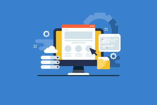 Website server hosting, online secure storage, cloud computing, domain database service concept. Flat design web banner template.