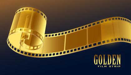golden film reel strip in 3d style