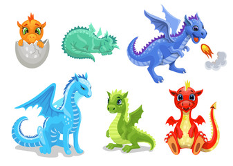 Cartoon dragon set. Fairy cute dragonfly icons collection. Baby fire dragon or dinosaur cute characters isolated vector. Fairytale monsters.