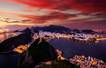 Beautiful panorama of Rio de Janeiro at twilight, Brazil. Sugarloaf Mountain and Botafogo Bay.