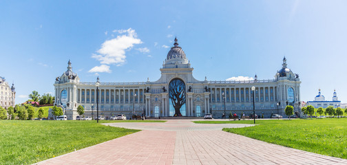 Palace Square and the Palace of Agriculture in Kazan in the summer