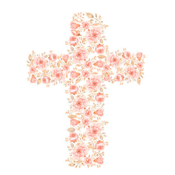 Watercolor Easter Cross Clipart, Spring Coral Floral Arrangements, Baptism Crosses DIY Invitation, Greenery Easter clipart, Holy Spirit. pink peony. Modern set.Hand painted.
