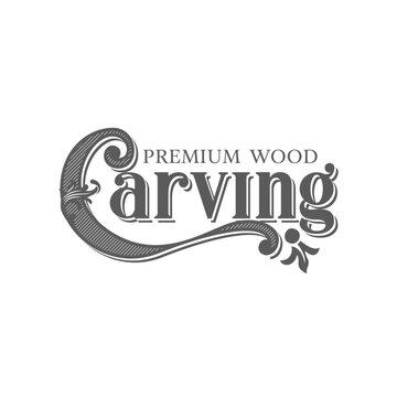 wood engraver logo design. Woodcarving logotype Illustration.