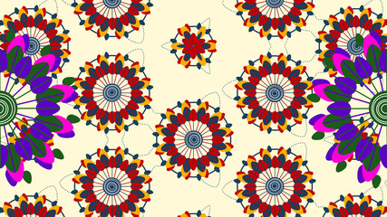 Animation flowers shaping bright patterns