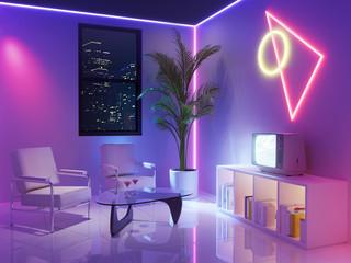 80s retro neon futuristic inspired room