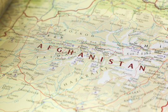 Ivanovsk, Russia - November 24, 2018: Afghanistan on the map of the world.