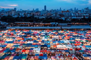 Wall Mural - Train night market in Ratchadapisek, Bangkok