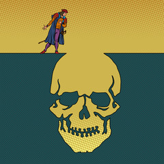 hamlet and the skull. Man next to a deep pit silhouette