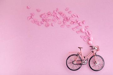 Aluminium Prints Bicycle Happy Valentine's day. bicycle and flying hearts. Mother's Day or Women's Day, greeting cards, invitations and posters.