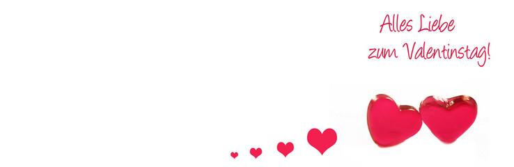 Valentinstag, Alles Liebe zum Valentinstag, Herzen, Banner, Header, Headline, Panorama, Textraum,...