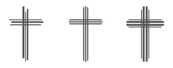 Gray Christian cross icon. Simple Christian cross on light background. Vector illustration